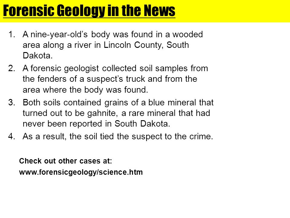 Forensic Geology in the News