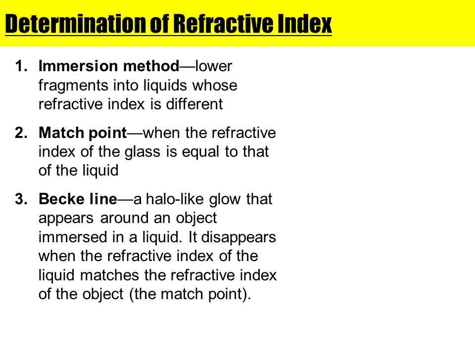 Determination of Refractive Index