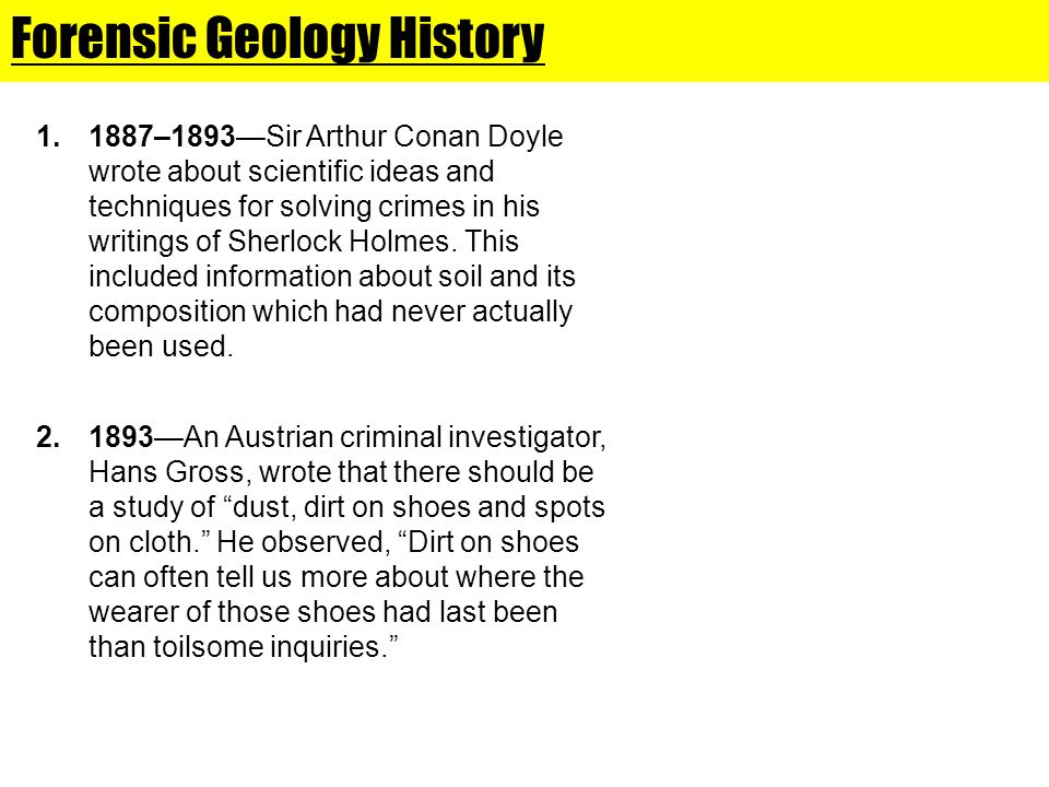 Forensic Geology History