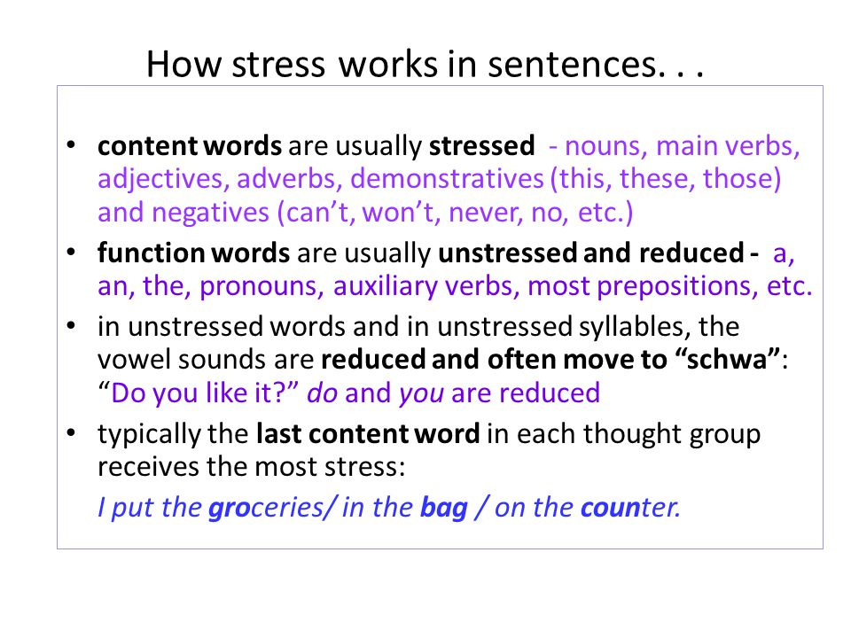 How stress works in sentences. . .