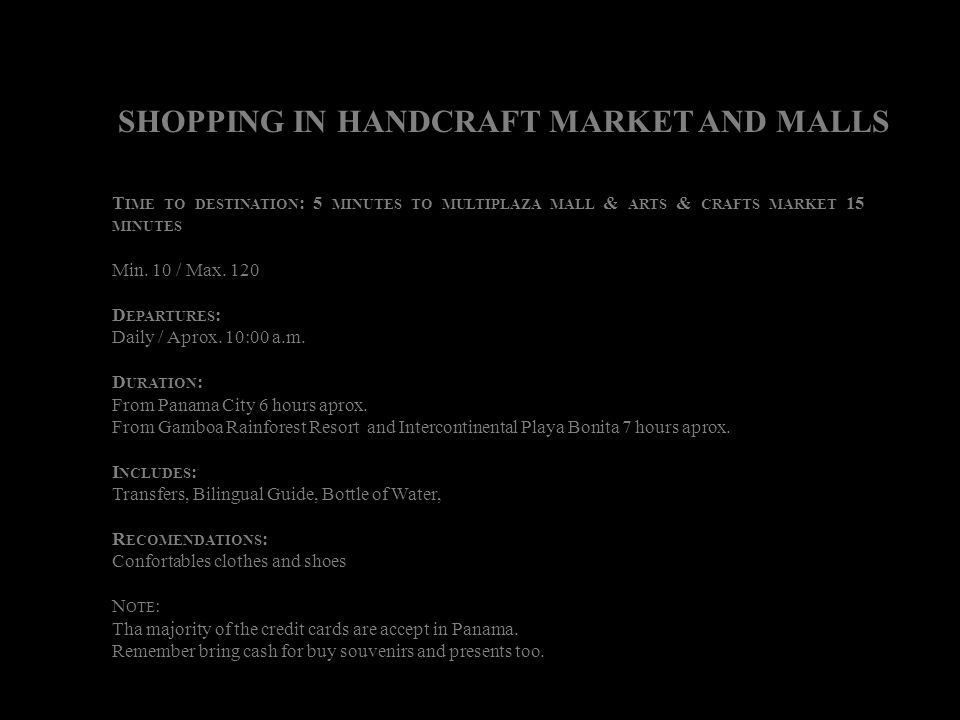 SHOPPING IN HANDCRAFT MARKET AND MALLS
