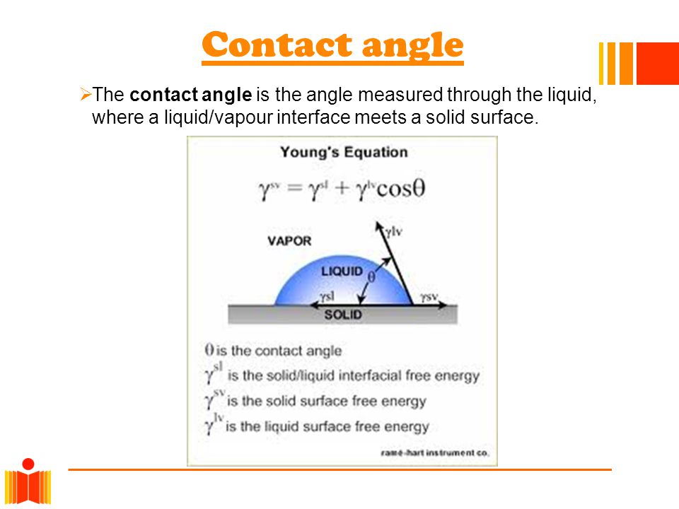 Contact angle The contact angle is the angle measured through the liquid, where a liquid/vapour interface meets a solid surface.