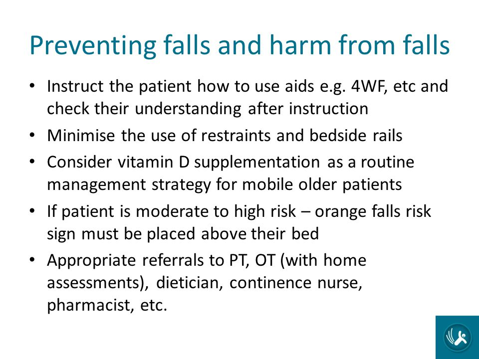Preventing falls and harm from falls