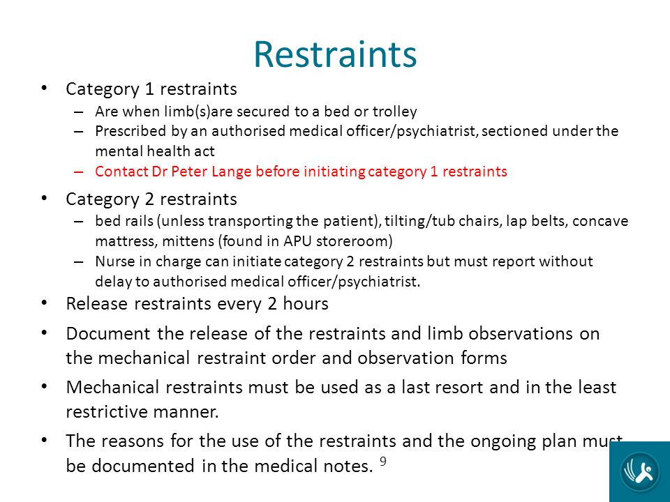 Restraints Category 1 restraints Category 2 restraints