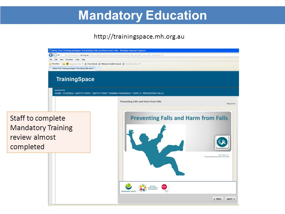 Mandatory Education http://trainingspace.mh.org.au.