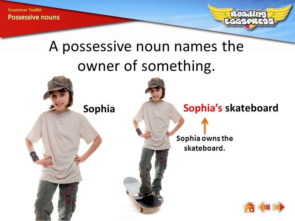 Sophia owns the skateboard.