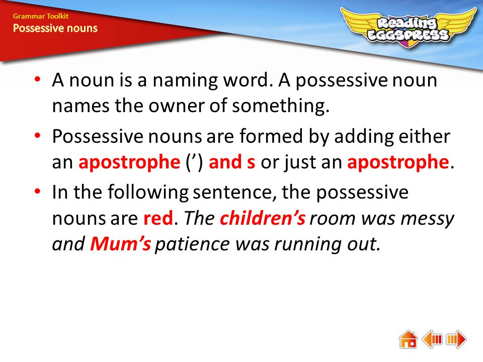 Grammar Toolkit Possessive nouns. A noun is a naming word. A possessive noun names the owner of something.