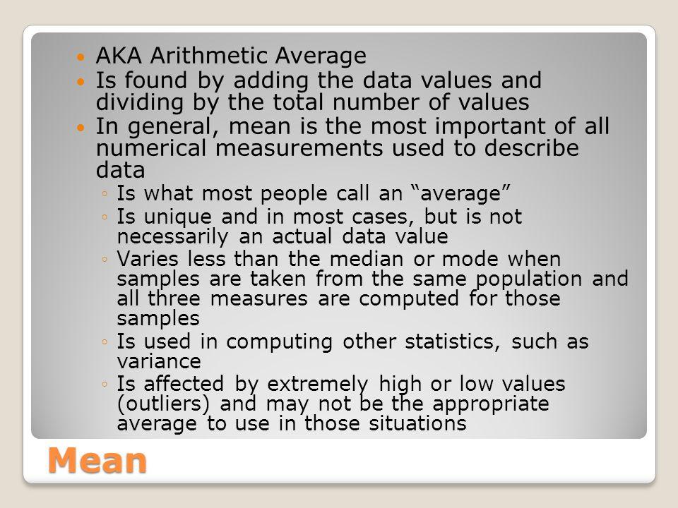 Mean AKA Arithmetic Average