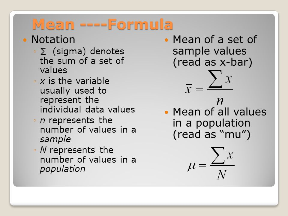 Mean ----Formula Notation