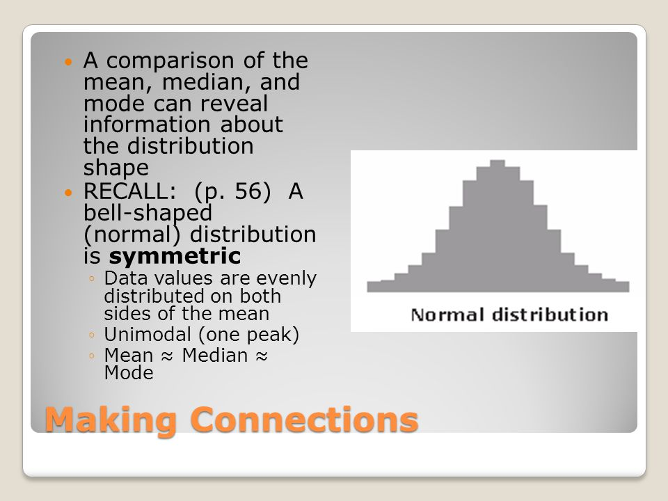 A comparison of the mean, median, and mode can reveal information about the distribution shape