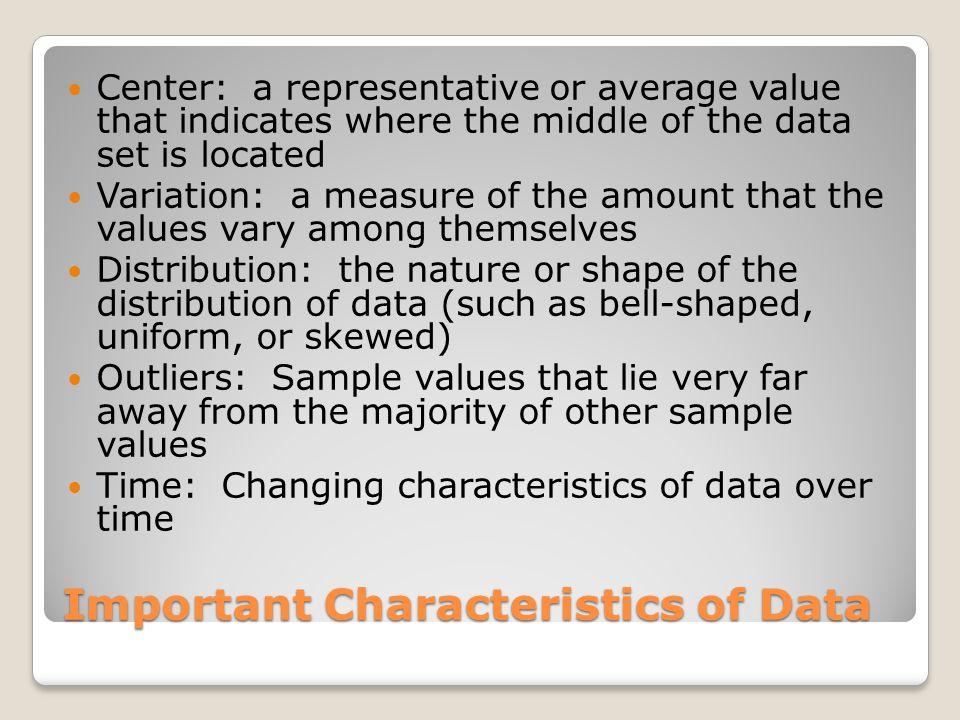 Important Characteristics of Data