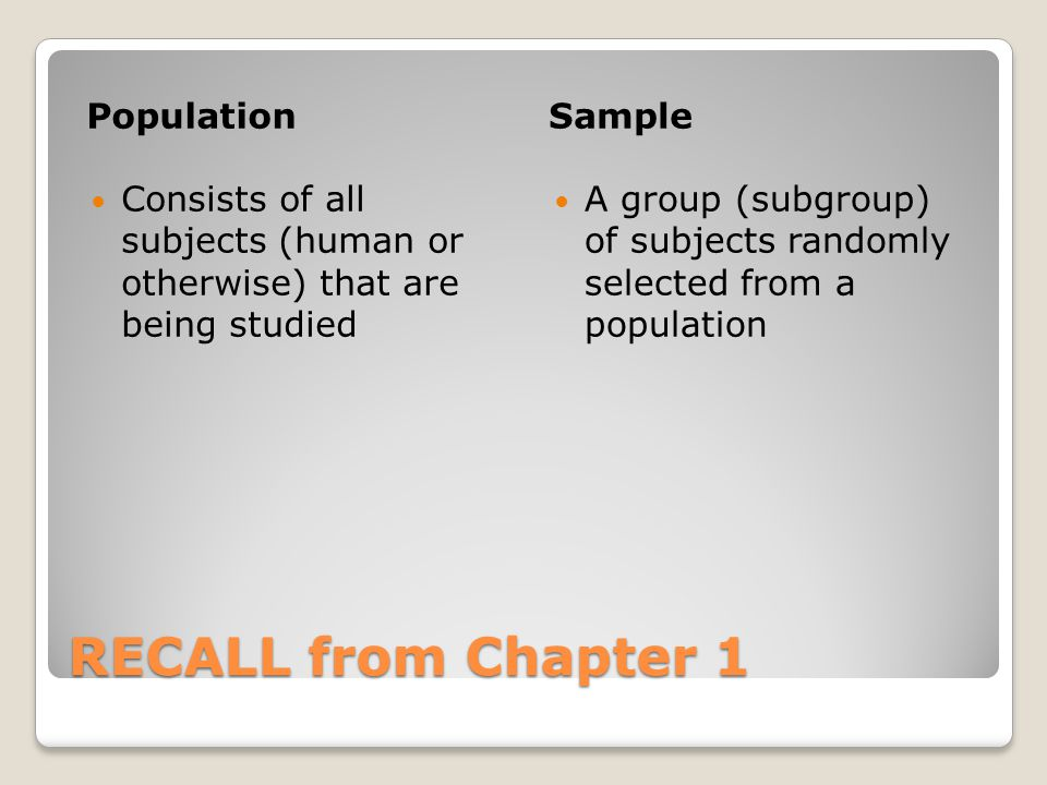 RECALL from Chapter 1 Population Sample