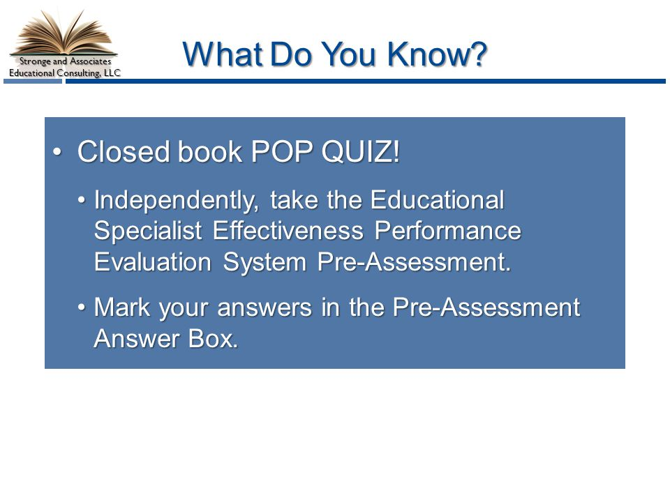What Do You Know Closed book POP QUIZ!