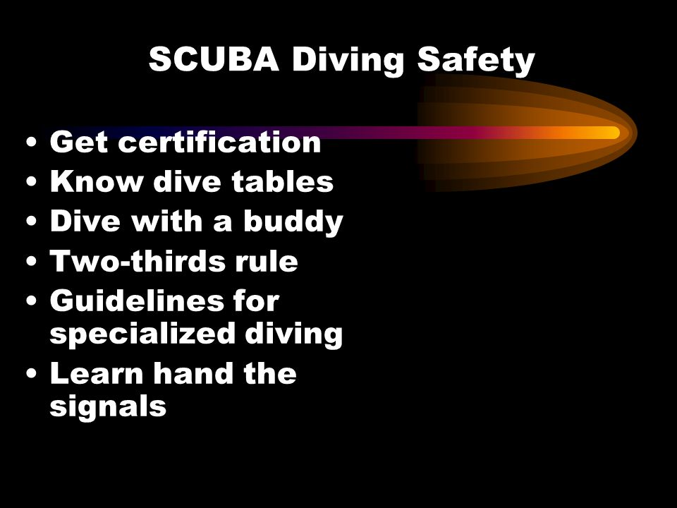 SCUBA Diving Safety Get certification Know dive tables