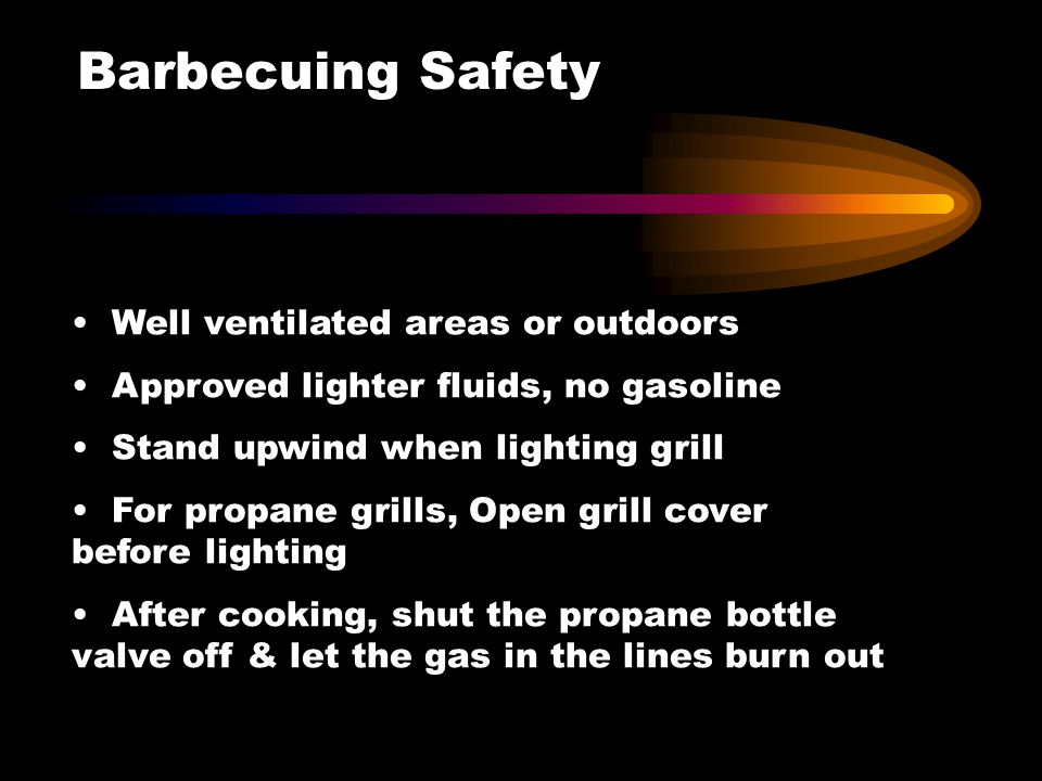 Barbecuing Safety Well ventilated areas or outdoors