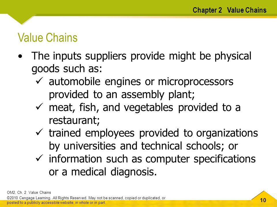 Chapter 2 Value Chains Value Chains. The inputs suppliers provide might be physical goods such as: