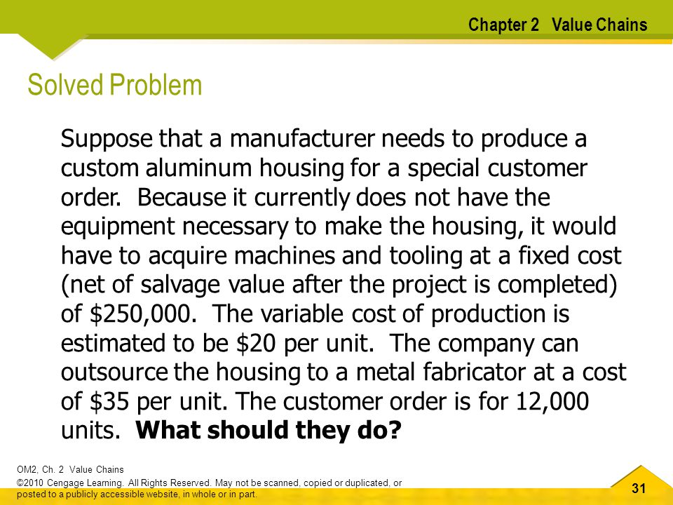 Chapter 2 Value Chains Solved Problem.