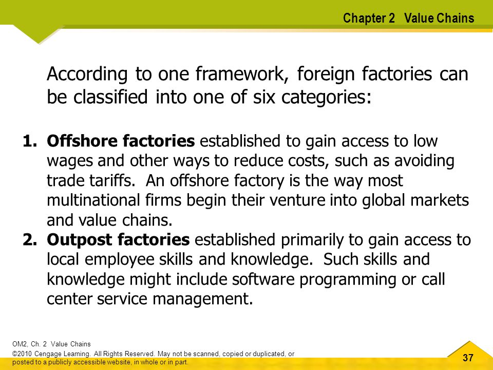Chapter 2 Value Chains According to one framework, foreign factories can be classified into one of six categories:
