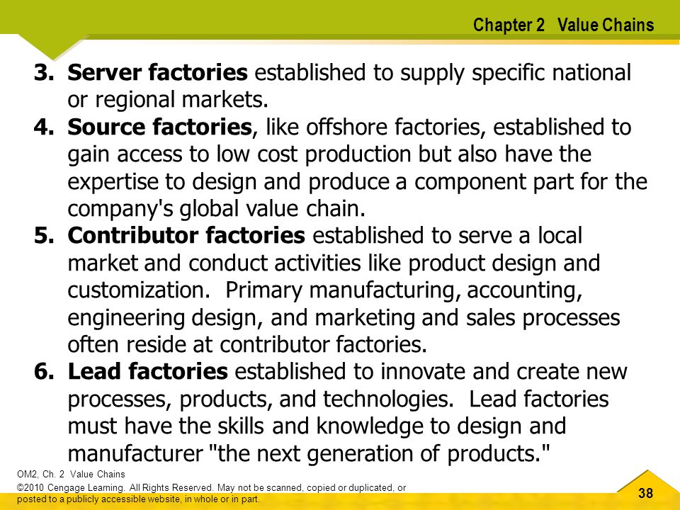 Chapter 2 Value Chains Server factories established to supply specific national or regional markets.