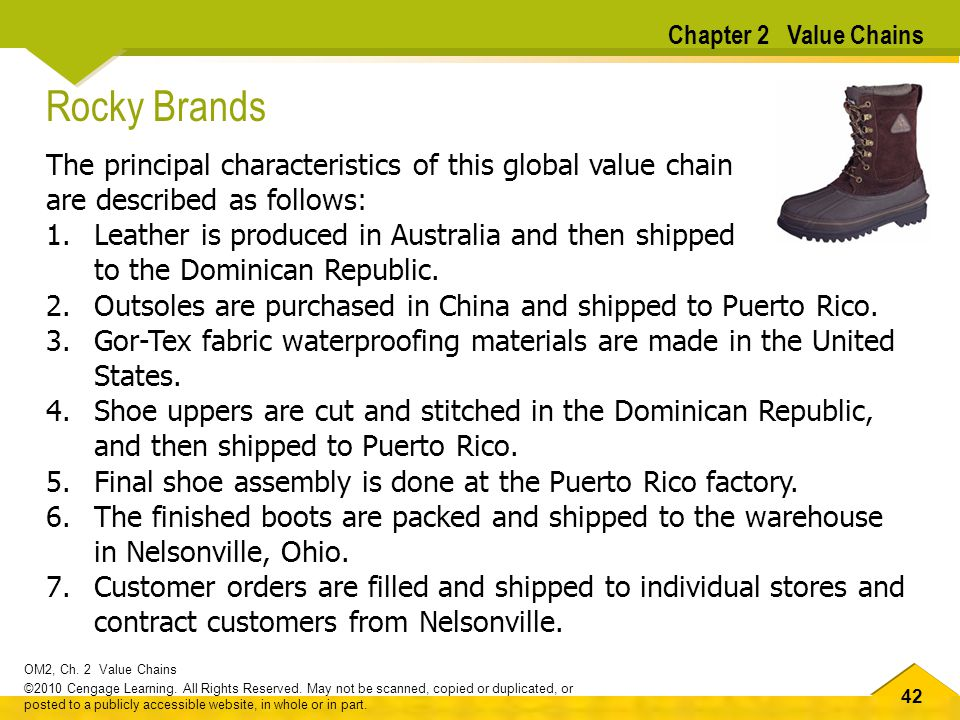 Rocky Brands The principal characteristics of this global value chain