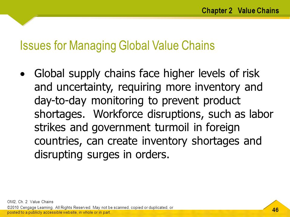 Issues for Managing Global Value Chains