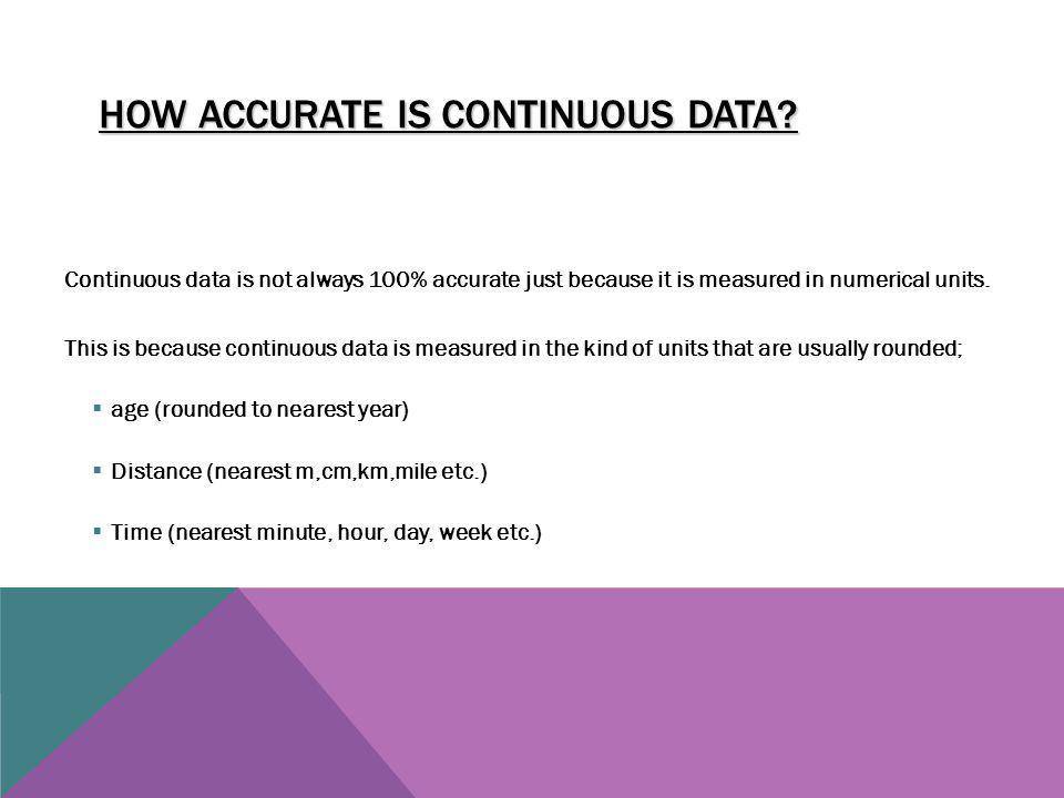 How Accurate Is Continuous Data