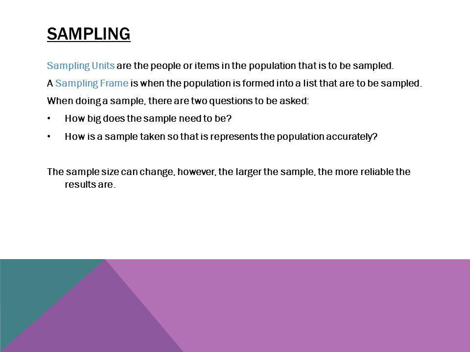 Sampling Sampling Units are the people or items in the population that is to be sampled.