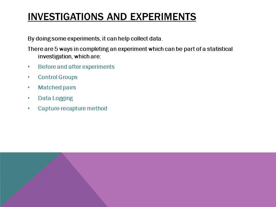 Investigations and experiments