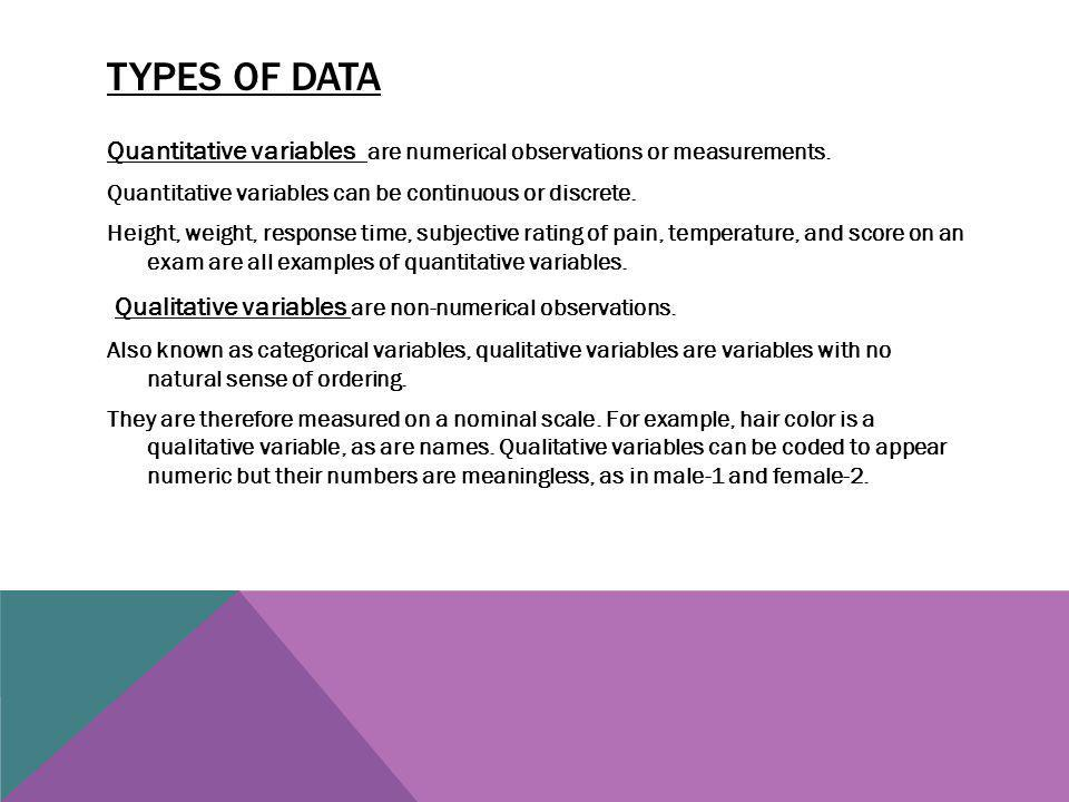 Types of data Qualitative variables are non-numerical observations.