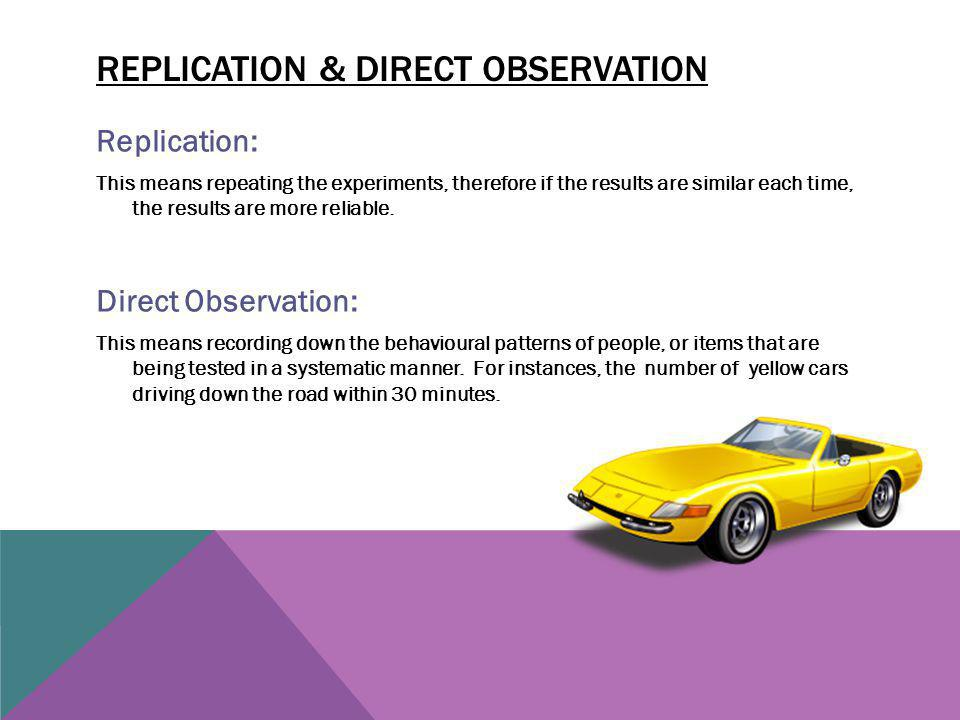 Replication & direct observation
