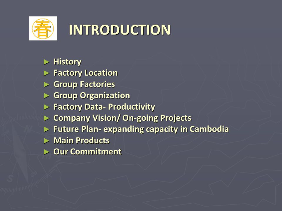 INTRODUCTION History Factory Location Group Factories