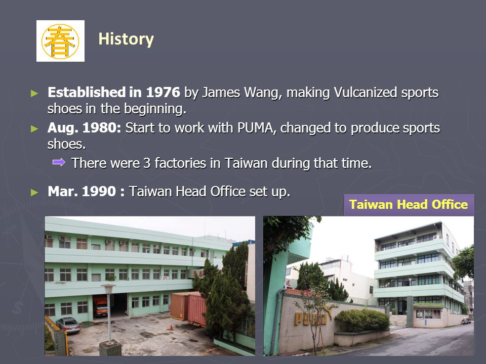 History Established in 1976 by James Wang, making Vulcanized sports shoes in the beginning.