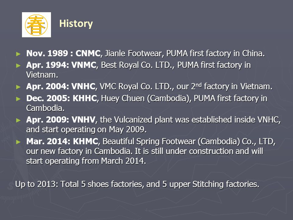 History Nov. 1989 : CNMC, Jianle Footwear, PUMA first factory in China. Apr. 1994: VNMC, Best Royal Co. LTD., PUMA first factory in Vietnam.