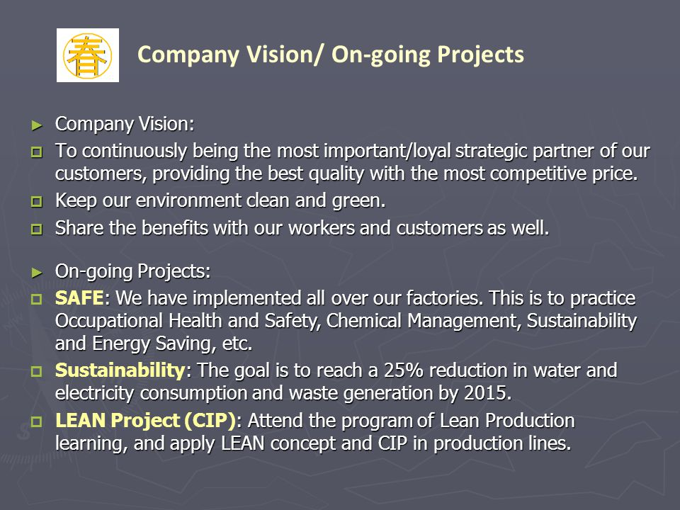 Company Vision/ On-going Projects