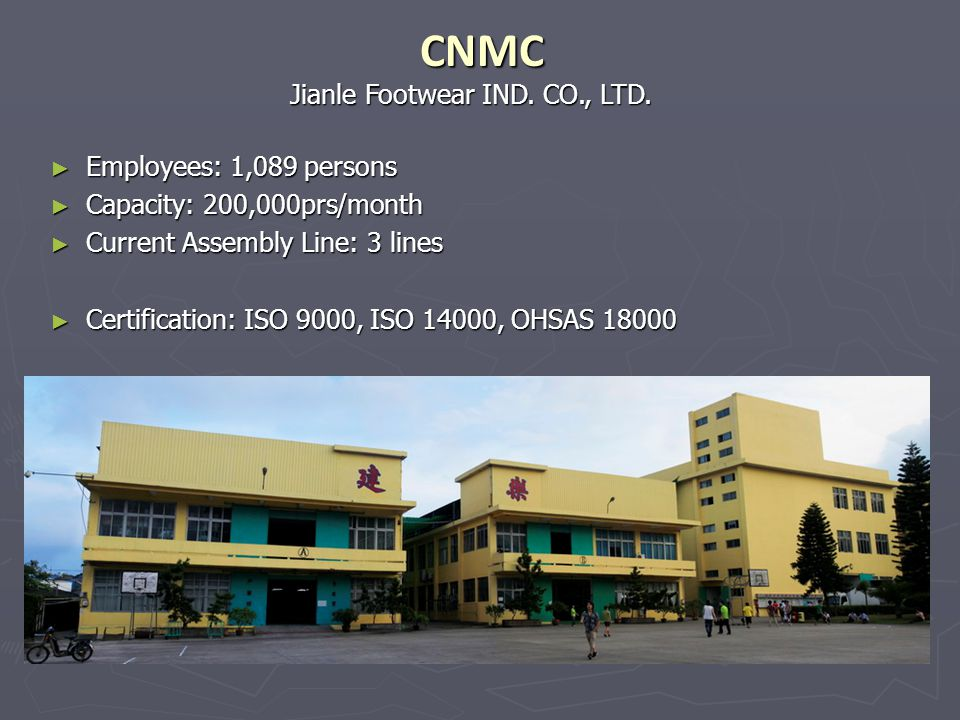 CNMC Jianle Footwear IND. CO., LTD. Employees: 1,089 persons