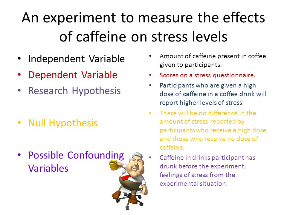 An experiment to measure the effects of caffeine on stress levels