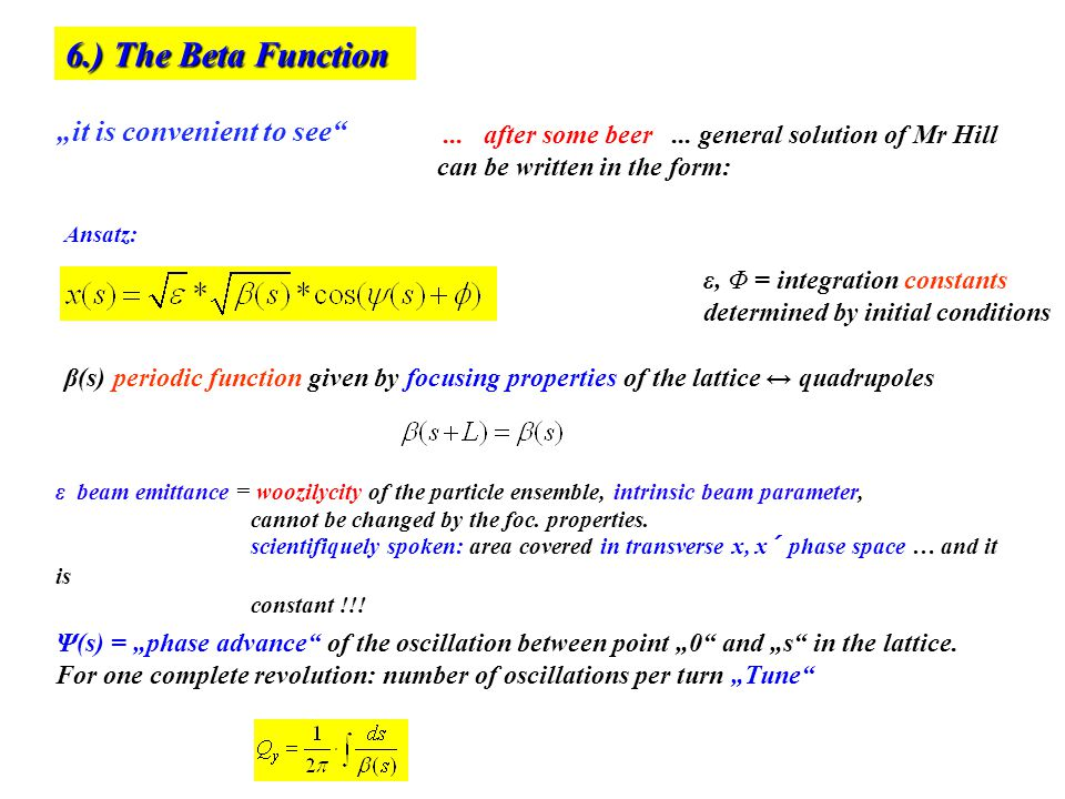 "6.) The Beta Function ""it is convenient to see o"