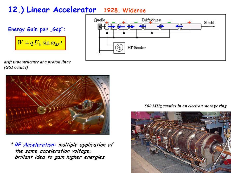 12.) Linear Accelerator + -̶ + -̶ + -̶ + 1928, Wideroe