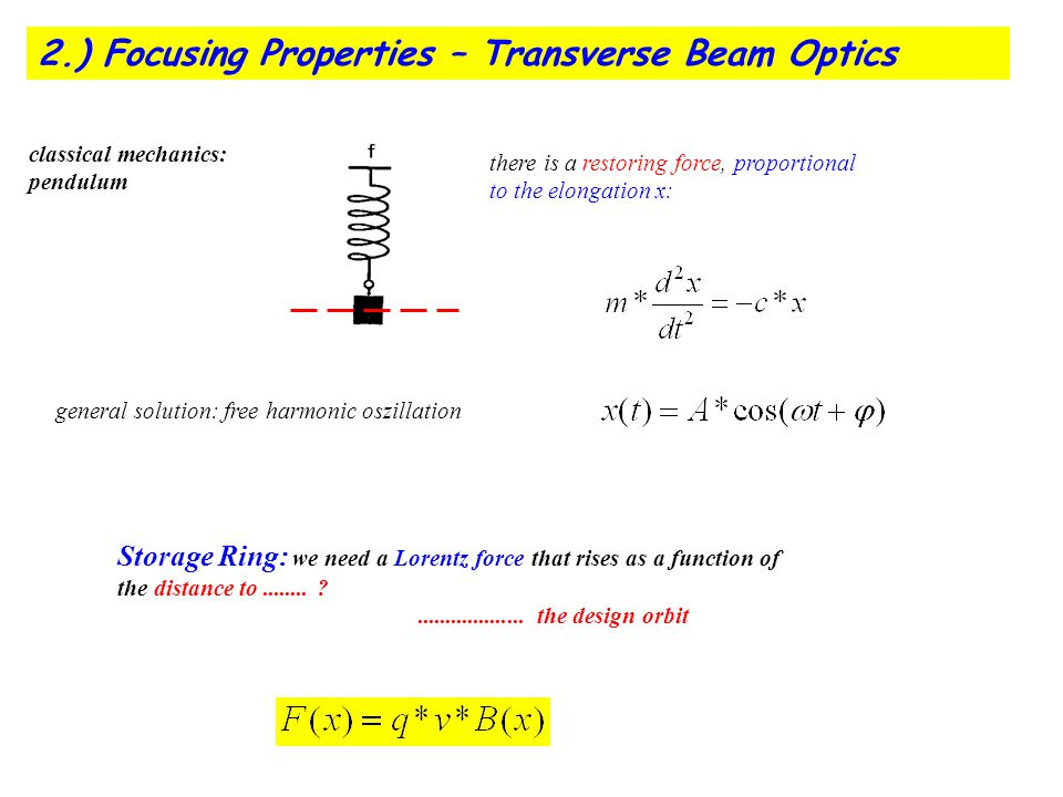 2.) Focusing Properties – Transverse Beam Optics