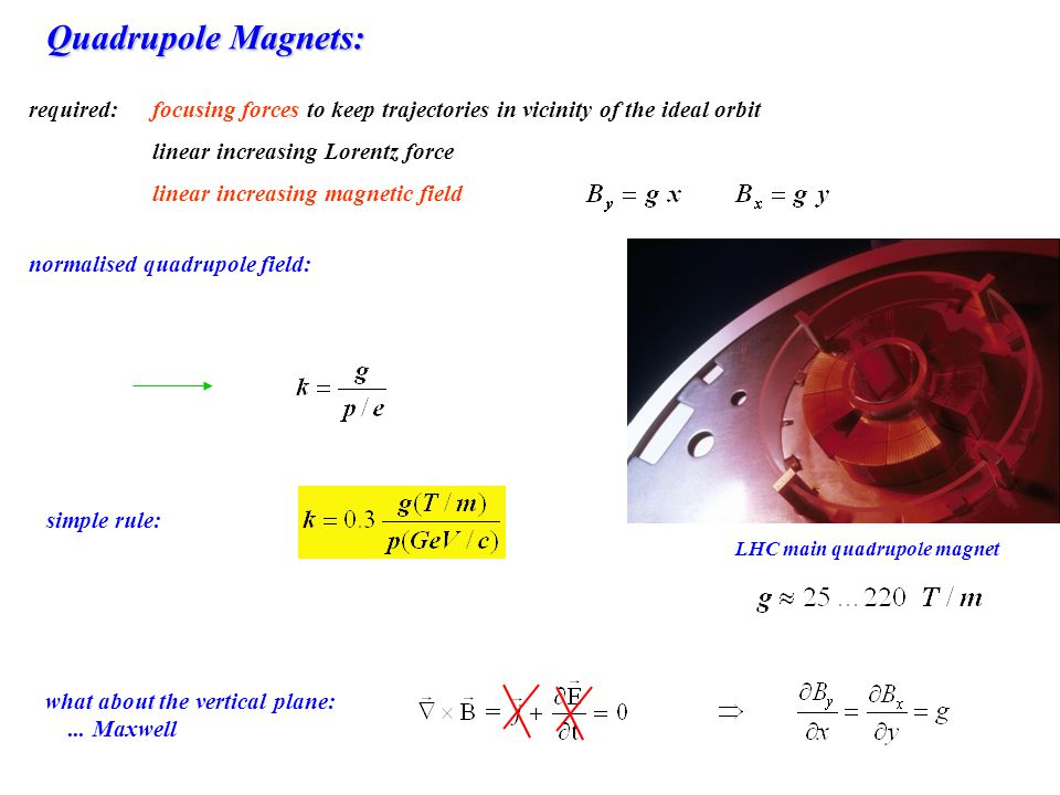 Quadrupole Magnets: required: focusing forces to keep trajectories in vicinity of the ideal orbit.