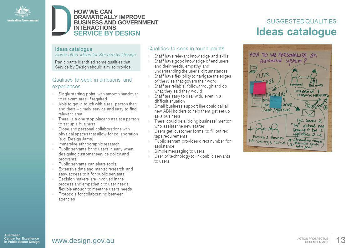 Ideas catalogue 13 SUGGESTED QUALITIES