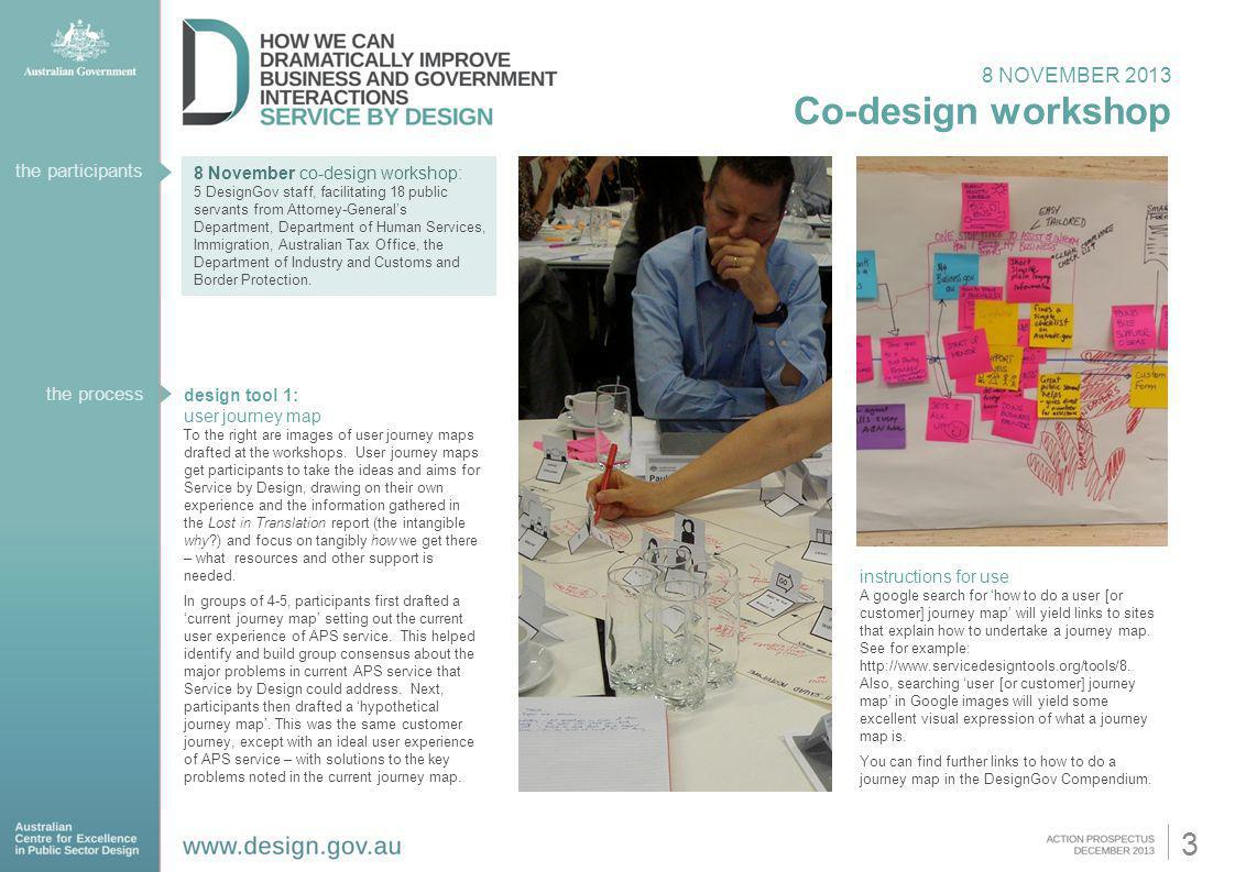 Co-design workshop 3 8 NOVEMBER 2013 the participants the process
