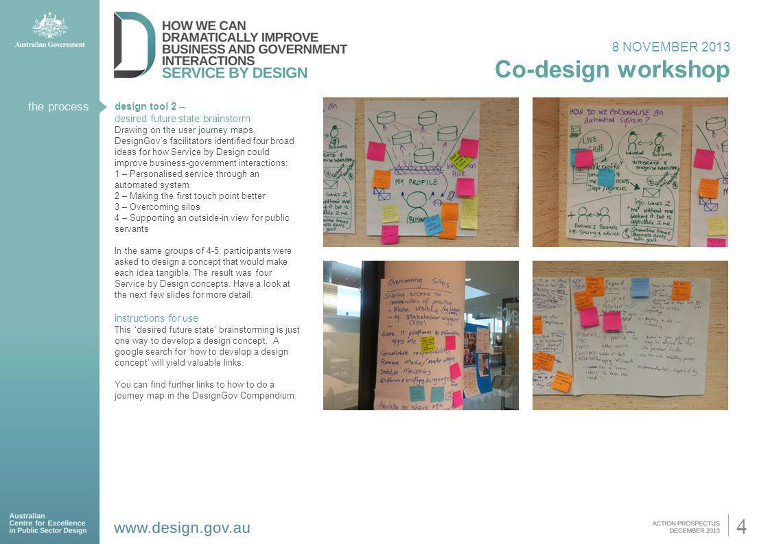 Co-design workshop 4 8 NOVEMBER 2013 the process design tool 2 –