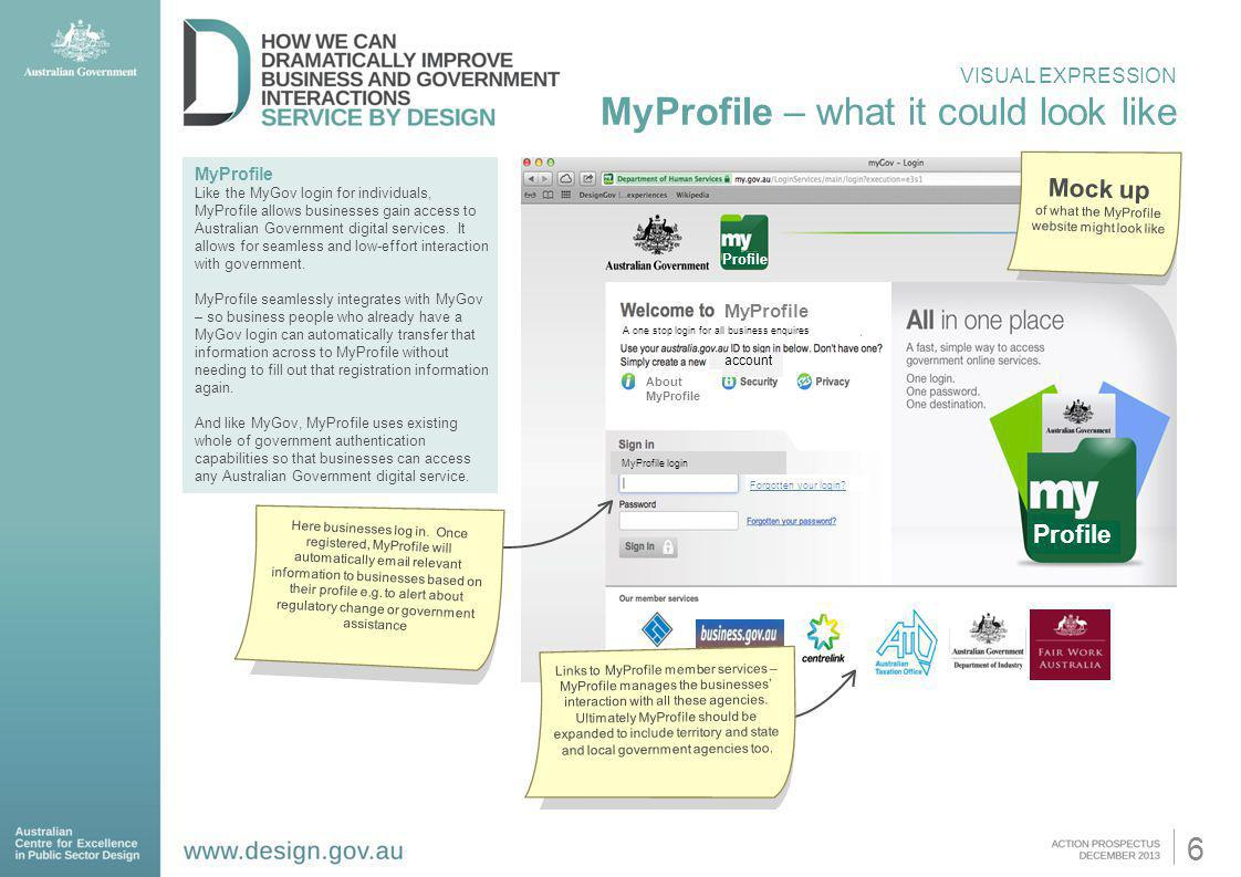 of what the MyProfile website might look like