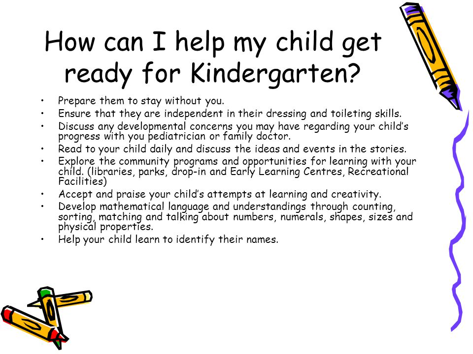 How can I help my child get ready for Kindergarten
