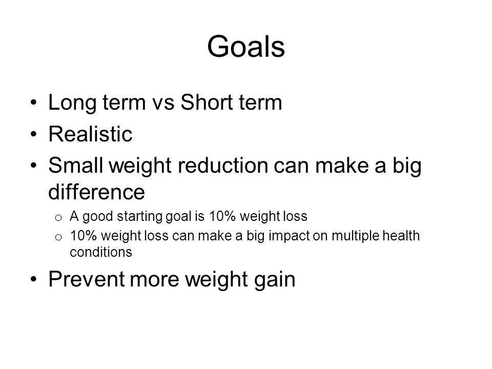 Goals Long term vs Short term Realistic