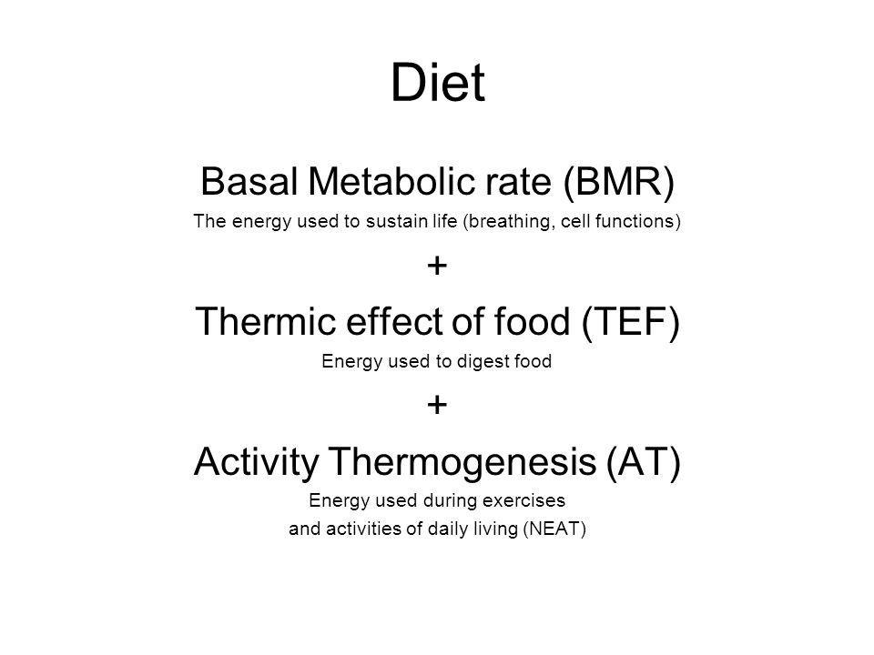 Diet Basal Metabolic rate (BMR) + Thermic effect of food (TEF)