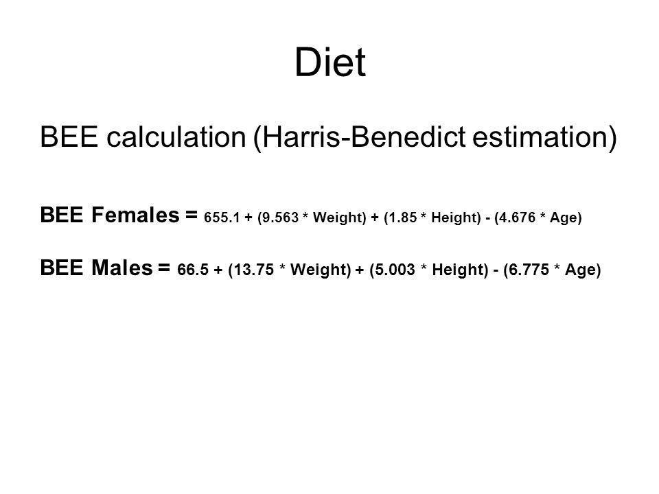 Diet BEE calculation (Harris-Benedict estimation)