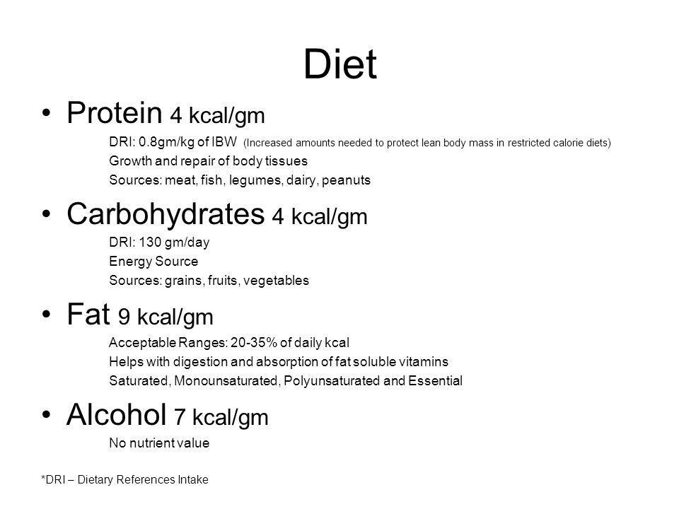 Diet Protein 4 kcal/gm Carbohydrates 4 kcal/gm Fat 9 kcal/gm