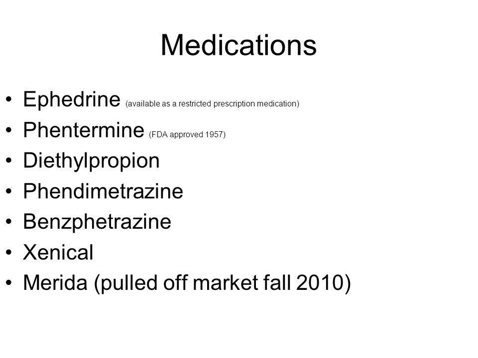 Medications Ephedrine (available as a restricted prescription medication) Phentermine (FDA approved 1957)
